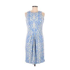 J. McLaughlin Sleeveless Blue Snake Print Dress Sm